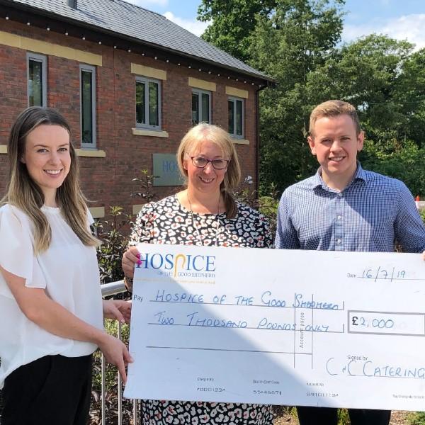 C&C's Jess & Matt Kitchin hand over cheque to local Hospice